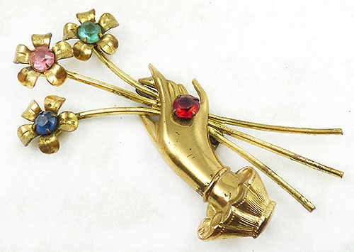 Figural Jewelry - People & Hands - 1940's Gold Hand Holding Flowers Brooch